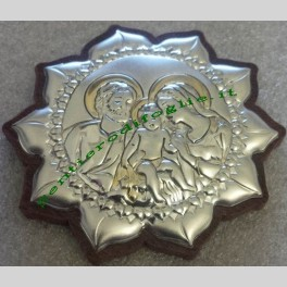 Icona girasole sacra famiglia Belcom 6300/1O 5,3x5,7 argento ed oro