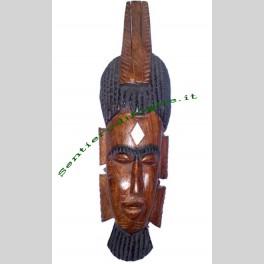 Maschera in legno etnica arte africana artigianale 9x30cm