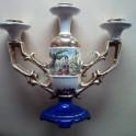 Candelabro in Ceramica Tre Candele Dipinto a Mano