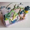 Portatovaglioli Arte in Ceramica J Carlton Dipinto a Mano Piante Fiori Vintage