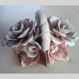 Centrotavola a Rose Artigianale in Porcellana Smaltata Dipinta a Mano