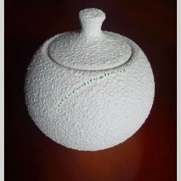 Zuccheriera Bocciardata Rotonda in Ceramica Bianca Servire Pausa Caffe