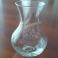 Vaso ad Ampolla in Vetro Trasparente Decorato con Motivo Floreale Porta Candela
