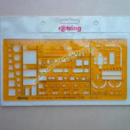 Maschera per Arredamento Interni Rotring Fotoincisa in Perpex Flessibile Arancione