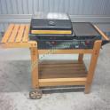 Barbecue a Gas da Giardino Bst Piastre in Ghisa Coperchio e Ruote Carrello in Legno