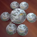 Servizio Ciotole da Dessert in Ceramica Inglese Il Cacciatore di Myott Inghilterra Dipinte a Mano
