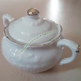 Zuccheriera Porcellana Bianca con Decorazioni Dorate Contenitore Zucchero Marchio Corona N