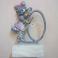 Rappresentazione in Metallo di Bimba con Fiocco Gonna e Tamburello Dipinta a Mano Vintage