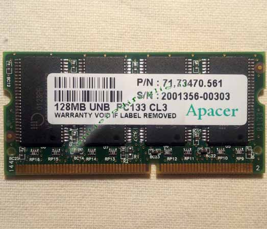 Memoria Ram 128 mb PC133 144 pin Computer Portatili