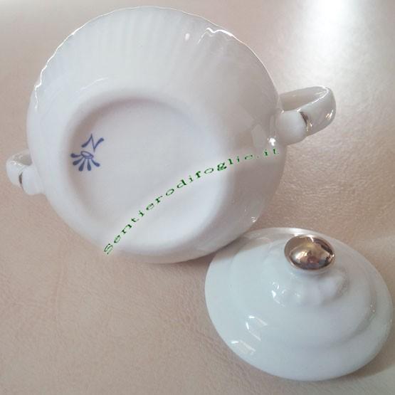 Zuccheriera Porcellana Bianca Lucida Decori Rilievo Oro Porta Zucchero Simbolo Corona N Vintage
