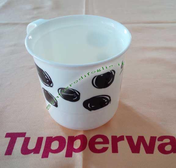 Coppa Decorata Mucca Tupperware Bevande Calde Fredde Colazione Lucida Bianca