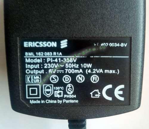 Caricabatterie PI-41-356V Cellulare Ericsson