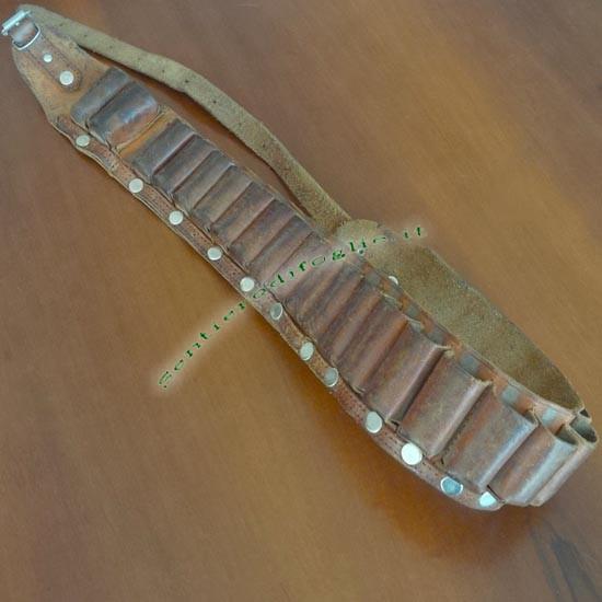 Cinturone Portacartucce 12mm Fucile Caccia Anelli Chiusi Cuoio Fibbia Regolabile Vita Bandoliera