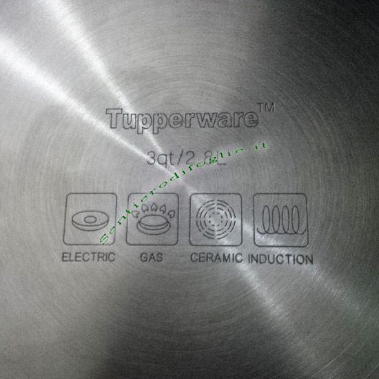 Casseruola Chef Tupperware 2,8L Acciaio Inossidabile Coperchio Vetro Cottura Alimenti Cucina