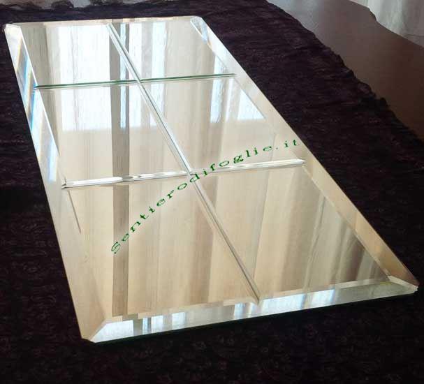 Specchi Arredamento Parete Soffitto Rettangolare Decorato Colore Argento