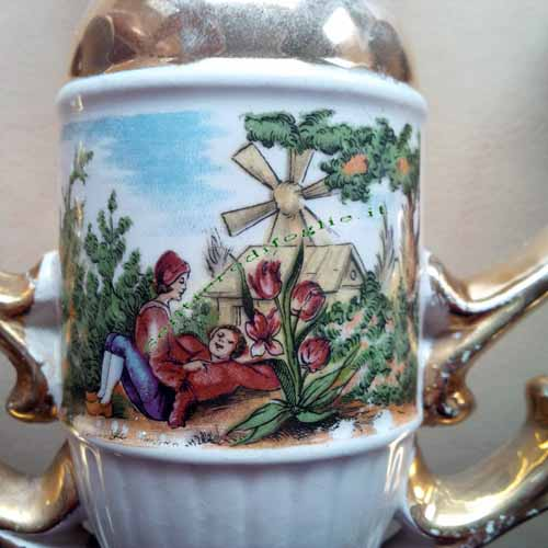 Candelabro Ceramica Tre Candele Dipinto Mano