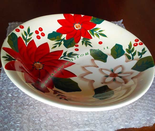 Centrotavola Ceramica Decorato Mano Piatto Frutta Pane Grissini Biscotti Smaltato