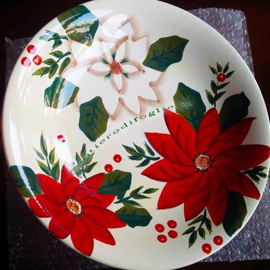 Centrotavola Ceramica Decorato Mano Piatto Lavorazione Artigianale Decorazione Fiori