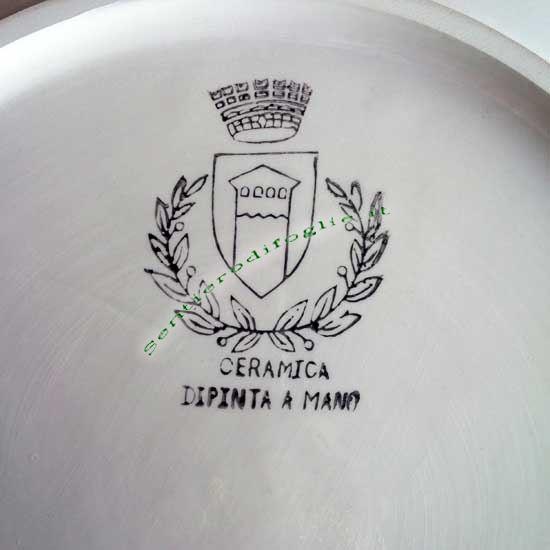Piatto Centrotavola Ceramica Smaltato Decorato Fiori Portalimenti Pane Frutta Secca