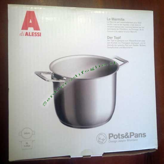 Pentola Acciaio Inox Lucido Pots&Pans Alessi Jasper Morrison Magnetico Piani Induzione