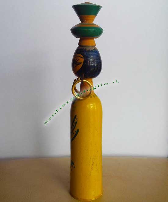 Statuetta Artistica Donna Legno Decorata Mano Orecchini Copricapo Vintage
