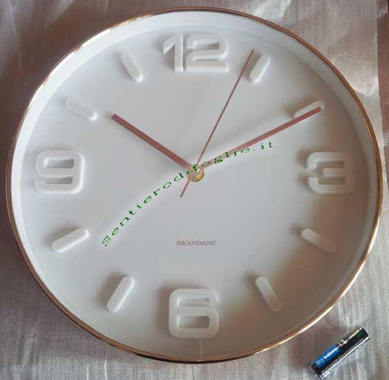 Orologio Parete Rose Gold Fondo Bianco Brandani Elettrico Batteria AA