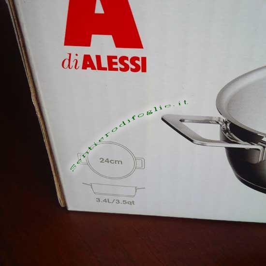 Casseruola Acciaio Inox Lucido Pots&Pans Alessi Jasper Morrison Graduata Risvolto Versare