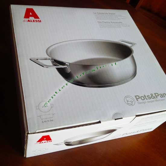 Marmitta Acciaio Inox 18/10 Lucido Pots&Pans Alessi ajm102/24 Cucina Arrosti Carne Verdure