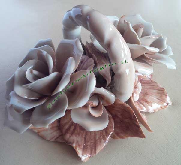 Centrotavola Cestino Rose Artigianale Porcellana Dipinto Decorato Mano Fiori Vintage Lucida