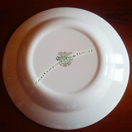 Piatti Fondi Ceramica Smaltata Diamondstone Laveno Italiana Vintage Marchio Verde