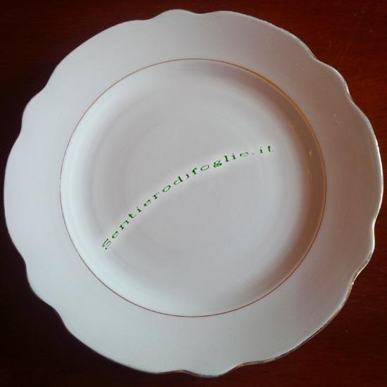 Piattini Ceramica Smaltata Vintage JCR Laveno Marchio Verde Bordo Filo Oro Dessert