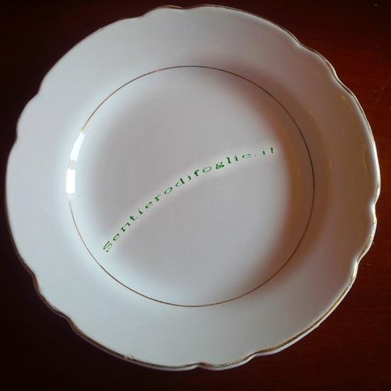 Piattino Ceramica Smaltata Vintage Italia Marchio Blu Leone San Marco Filo Oro