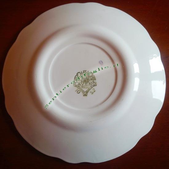 Piattino Ceramica Smaltata Vintage JCR Laveno Marchiato Logo Verde Bordo Filo Oro