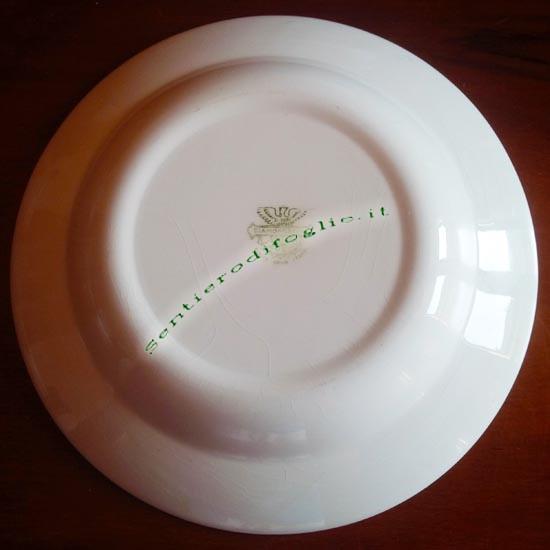 Piatto Fondo Ceramica Smaltata Diamondstone Laveno Italiana Vintage Marchiatura Verde