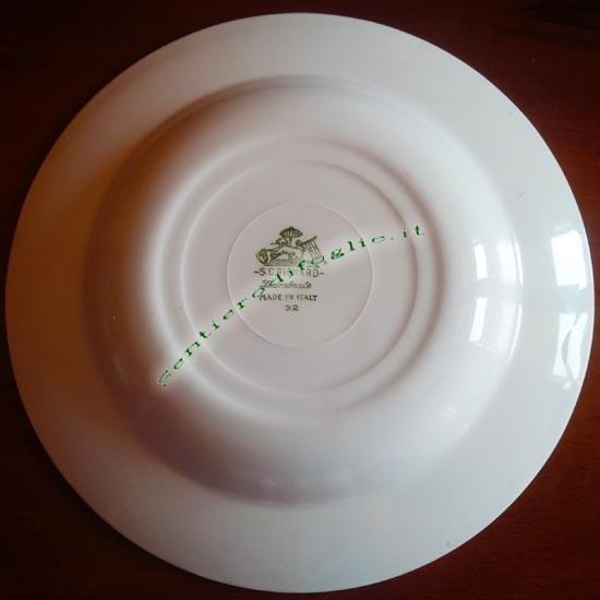 Piatto Fondo Ceramica Smaltata Richard Ginori Italiana Vintage Marchiatura Verde