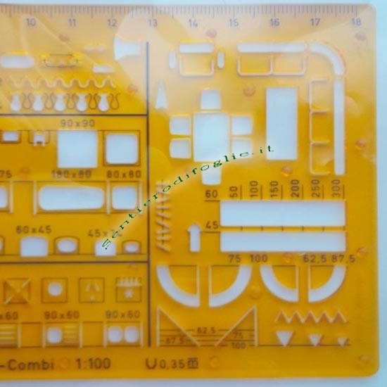 Maschera Arredamento Interni Rotring Precisione Laser Scala 1:100 Disegno Tecnico 853 779
