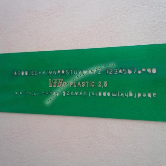 Normografo Lettere Numeri Disegno Tecnico Mascherina Verde Trasparente Vibo 2,5 mm Testi