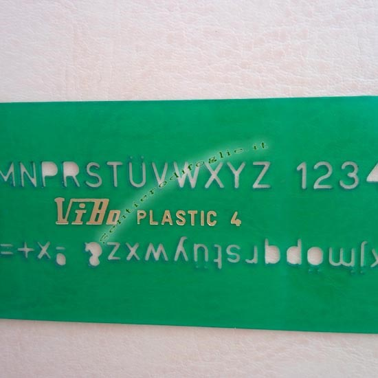 Normografo Testo Cifre Alfanumerico Disegno Tecnico Precisione Accessorio Verde Vibo 4 mm