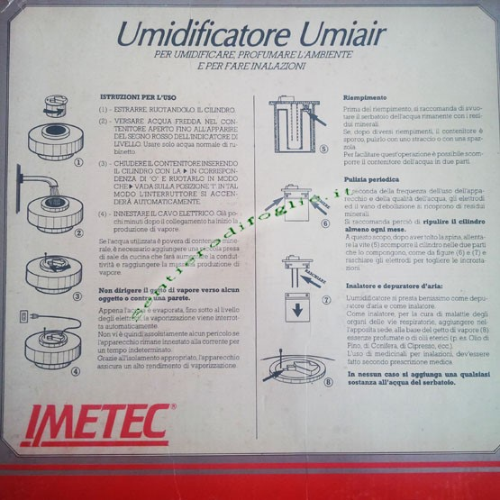 Umidificatore Umiair Imetec Umidita Vapore Spegnimento Automatico Sicurezza Ambienti Essenze